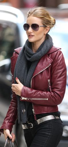 Giselle in a plum maroon leather moto jacket and gray scarf- street style