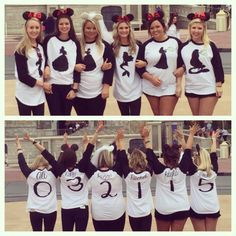 Bachelorette party at Disney World! Numbers on the back of the shirt spell out the wedding date :)