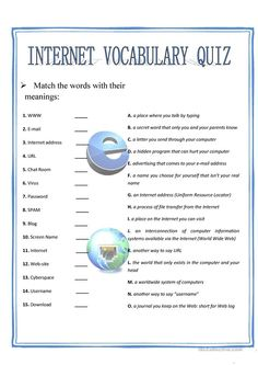 Internet vocabulary quiz worksheet - Free ESL printable worksheets made by teachers Computer Teacher, Computer Class, Computer Basics, Computer Science, Worksheets For Class 1, Vocabulary Worksheets, Printable Worksheets, Technology Vocabulary, Technology Lessons