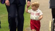 William and Kate arrive with George for Princess Charlotte's christening.