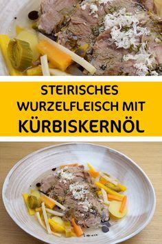 Eine Tradition in der Steiermark ist es, so gut wie jedes Gericht großzügig mit Kürbiskernöl zu übergießen. 😁 Wir lieben das dunkelgrüne Öl einfach. Auf Steirischem Wurzelfleisch mit Kren macht sich Kernöl (viel Kernöl) aber wirklich ganz hervorragend. Versprochen!