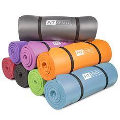 Dark Purple or Red - Fit Spirit® 1/2 Inch Comfort NBR Exercise Yoga Mat - Purple Mat Fit Spirit