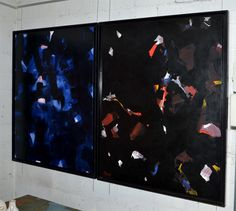 Large 1980s Abstract Painting by Jean Mégard | From a unique collection of antique and modern paintings at http://www.1stdibs.com/wall-decorations/paintings/
