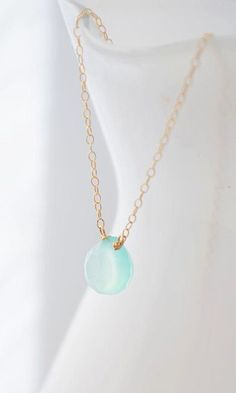 Gold Mint Blue Chalcedony Necklace