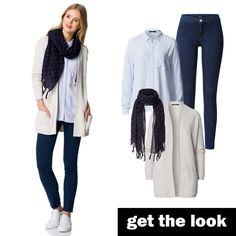 Bluse, Strick-Cardigan und Skinny Jeans von zero #zerofashion #getthelook #outfit #ootd