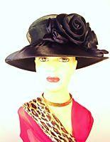 Woman Satin Large Brim Dressy Formal Wedding Church Hat
