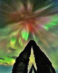 Aurora borealis over the Arctic Henge in northern Iceland -- by Jan jansen on Instagram