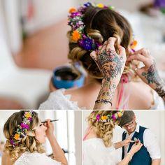Wunderschöne Hochzeit mit Boho Blumenkranz