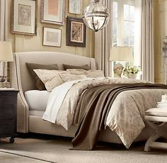 Restoration Hardware Bedding - Heirloom Quilt & Shams in Sable, and  Italian Antiqued Floral Duvet and Euro Sham in Taupe