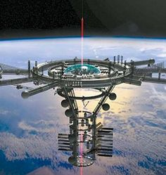 "Space Elevator- the idea of the space elevator is to use a cable tethered to a base station to send ""climbers"" into orbit at a fraction of the cost of rocket-based launch systems."