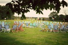 Picnic wedding with deck chairs; love the colors!!!