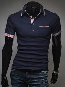 Polo de algodón con mangas cortas de estilo clásico Camisa Polo 4468d2ddded04