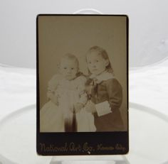 Antique Cabinet Card Photograph 2 Young Girls National Portrait Kansas City #25