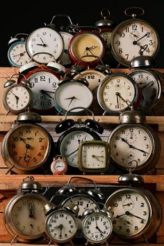 an assorted collection of old wind up alarm clocks ... they made the most awful noise so early in the morning ..