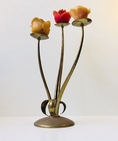 Vintage french brass candle holder in shape of a flower: retro-design.dk