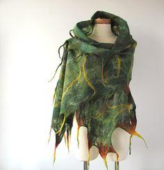Cobweb+Felted+scarf++Green+forest+by+galafilc+on+Etsy,+$83.00