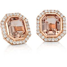 Blue Nile Emerald-Cut Morganite and Diamond Halo Earrings (173.475 RUB) ❤ liked on Polyvore featuring jewelry, earrings, bezel setting earrings, bezel set earrings, halo diamond earrings, blue nile and facet jewelry