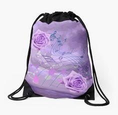 $30 Purple&Pink #MusicNotes&Roses #DrawstringBag by #MoonDreamsMusic