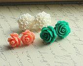 Kelly Green Earrings, White Chrysanthemum, Spring Accessories, Rose Stud Earrings, Coral Peach Earrings, Three Pairs