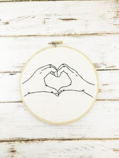 Funny hoop art Hand embroidery Embroidery hoop art Heart hands