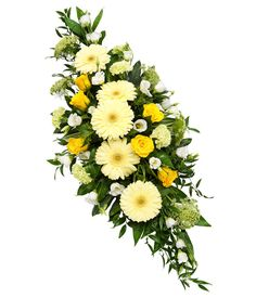 Funeral Sprays are a popular tribute expressing sympathy. Traditionally sprays come in both single ended and double ended designs. Double ended Sprays sometimes referred to as Casket Sprays are often used to adorn a Casket with great splendour. Flower Wreath Funeral, Funeral Flowers, Wedding Flowers, Yellow Flower Arrangements, Funeral Floral Arrangements, Floral Centerpieces, Casket Flowers, Funeral Caskets, Green Carnation