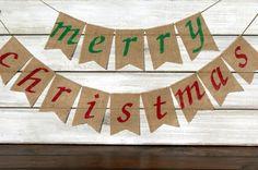 Merry Christmas Burlap Banner Photography Prop / Holiday Garland / Mantel Decor