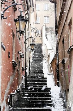 Walk on the  snow pavements of Warsaw Old Town, Poland.