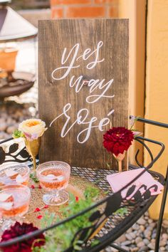 """Bridal shower sign idea - wooden """"yes way rosé"""" sign on bridal shower bar cart {Courtesy of Twinkle & Toast}"""
