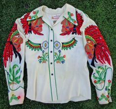 Vintage 1940's 50's NATHAN TURK Embroidered Indian Wool Gabardine Western Shirt