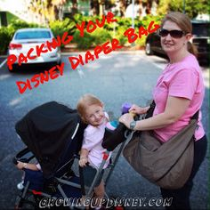 List and helpful tips for packing your Disney diaper bag.  Travel light!
