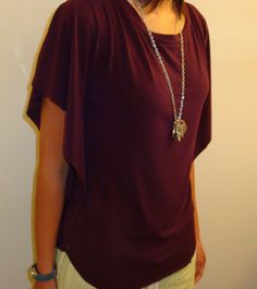Draped Jersey Circle Top Tutorial. Use purple leaf print stretch fabric. Doesn't include how to hem bottom, sleeves