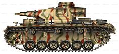 Panzer III Ausf N in camouflage from The Battle of Kursk Camouflage, Model Tanks, Military Weapons, Military Equipment, Paint Schemes, World War Two, Military Vehicles, Battle, Dioramas