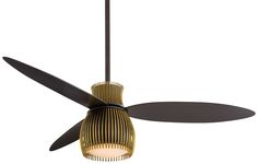 56 Inch Minka Aire Ceiling Fan with Light and Wall Control  Oil Rubbed Bronze/Tarnished Brass Accents