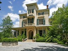 Exterior of Irvington, NY Home: Historically hailed as the most elegant villa on the Hudson, this magnificent 1853 mansion has been fully restored to its original splendor and updated for today.