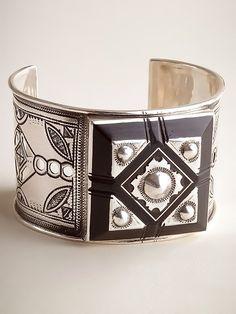 Bold Silver and Ebony Bracelet - by Elhadji Koumama of Tuareg Jewelry, Niger