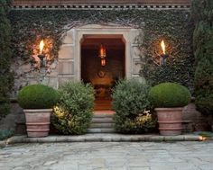 Exquisite entrance to interior designer John Saladino's Montecito home.