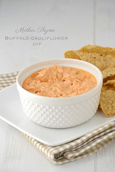 Buffalo Cauliflower Dip.... my husband is going to flip for this! via @Jennifer | Mother Thyme