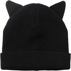 Monki Ruby Hat Ears (12 AUD) ❤ liked on Polyvore featuring accessories, hats, beanies, black, black magic, beanie cap hat, beanie hats, monki and beanie cap