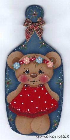 HP TEDDY BEAR Girl on Breadboard FRIDGE MAGNET #Handpainted