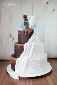 Kinderschokolade Hochzeitstorte - Kinder Chocolate Wedding Cake - Own creations made by Backorphine - Backen Beautiful Wedding Cakes, Beautiful Cakes, Easy Moist Chocolate Cake, Cake Chocolate, Cake Trends, Dream Cake, Cake Images, Chocolate Hazelnut, Chocolate Covered