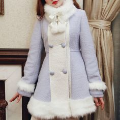 S/M/L [Reservation]Light Blue/Pink Winter Fluffy Fleece Coat SP154413 Kawaii fashion and cute styles