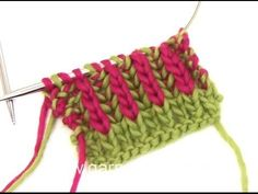 DROPS Knitting Tutorial: How to start with English rib in two colors - YouTube