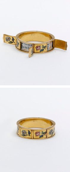 Gold ring, enamelled with sprigs. A small hinged lid around the circumference conceals amatory mottoes beginning 'JE T'AIME', France, Museum Number Jewelry Shop, Jewelery, Silver Jewelry, Jewelry Accessories, Jewelry Design, Jewelry Making, Handmade Jewelry, Glass Jewelry, Diy Jewelry
