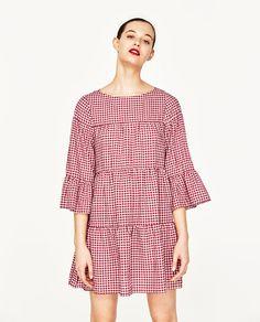 Image 2 of GINGHAM MINI DRESS from Zara