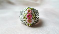 Victorian ring Victorian jewelry Baroque ring Vintage style antiqued silver copper flower ring engraved adjustable ring