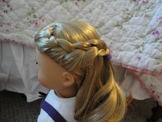 The other day I was playing with Chloe's hair when I started experimenting (which I do a lot). I thought it turned out really pretty, so I . Ag Doll Hairstyles, American Girl Hairstyles, French Braid Hairstyles, Cool Hairstyles, Girl Doll Clothes, Girl Dolls, Ag Dolls, Ag Hair Products, America Girl