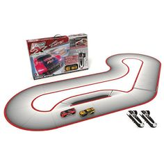 Real FX Racing: Slotless Racetrack System including two RC Cars and Handsets with Artificial Intelligence. A Next Generation Tech Toy! (Starter Set) - The Best Toys And Games for Everyone On List Race Car Track, Slot Car Racing, Race Cars, Hobbies For Kids, Toys For Boys, Kids Toys, Hot Wheels, Circuit, Slot Car Sets