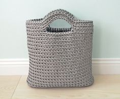 Grey handbag  Crochet bag  knitted bag  grey by CatInTheBasket