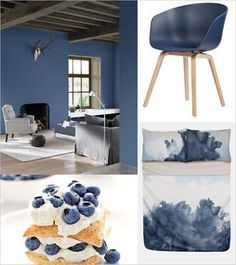 Monday Mood: Blueberry Dream // 1: Paint color 'Blueberry Dream' by Flexa 2: About a Chair by Hay (via @stylizimo) 3: Blueberry Lemon Napoleon dessert 4: Bed linen by Nordstrom