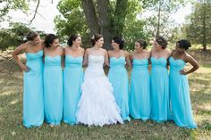 Malibu Blue Wedding/ Bridesmaid Dresses - Sparkly, Elegant Wedding Dress Bride/Bridal Party wedding picture ideas. So cute and fun! Photo Credit - Whitney Bird Photography & Design